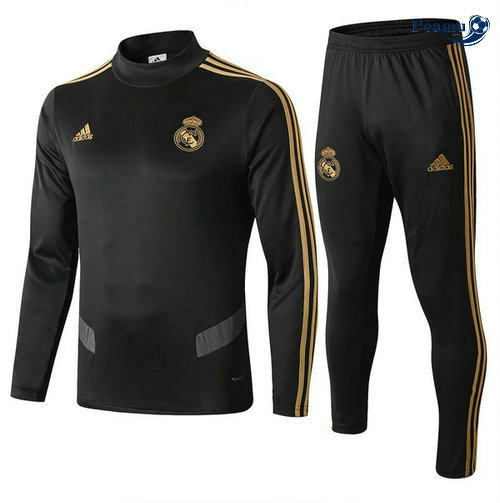 Tuta Calcio Real Madrid Nero 2019-2020 Collo Alto M113